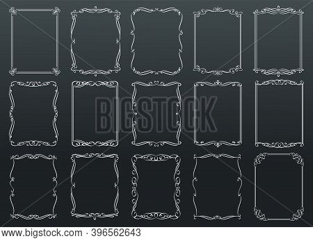 Vintage Ornamental Rectangular Retro Frames Template On Chalkboard, Vector Illustration White On Bla