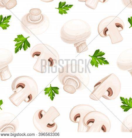 Mushrooms Champignons, Fungi Seamless Pattern Vector Illustration. Backdrop Of Appetizing Fungus, Pa
