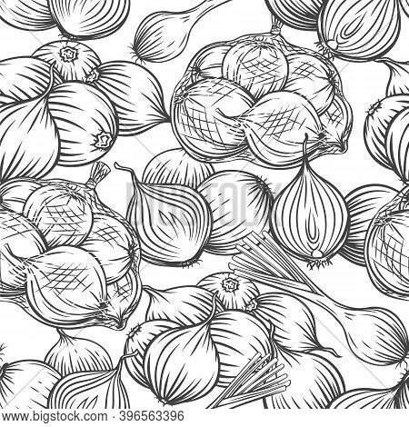 Onion Bulbs, Leek, Seamless Pattern Outline Hand Drawn Vector Monochrome Engraved Illustration For W