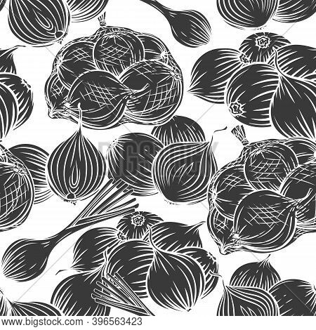 Onion Bulbs, Leek, Seamless Pattern Glyph Vector Monochrome Engraved Illustration For Wrapping Desig