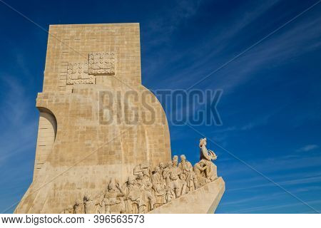 Lisbon, Portugal - October 31, 2020: Detail of the Monument to the Discoveries in Belem Lisbon Portugal