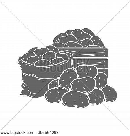 Potato Tubers Monochrome Glyph Vector Illustration In Retro Style For Store Ad. Farm Potatoes In Woo