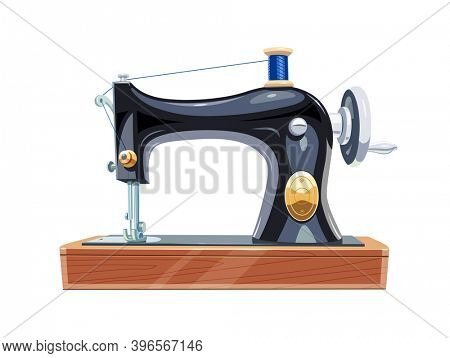 Vintage sewing machine with blue spool thread. Equipment for sew vogue clothes. Isolated white background. 3D illustration.