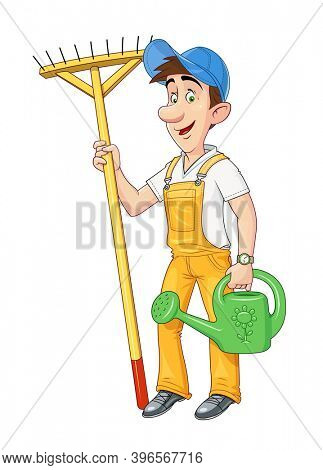 Gardener with rake and watering can. Working occupation. Cartoon character. Agriculture hobby. Housekeeping job. Isolated white background. 3D illustration.