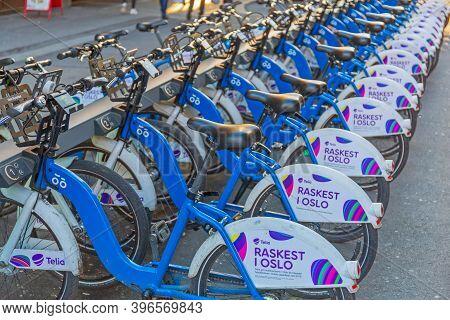 Oslo, Norway - October 29, 2016: Bicycle Rental Telia Raskest In Oslo, Norway.