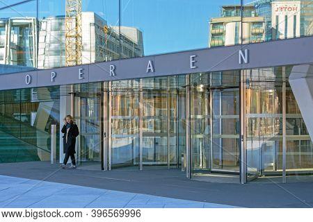 Oslo, Norway - October 29, 2016: Revolving Door Entrance To Opera Building In Oslo, Norway.