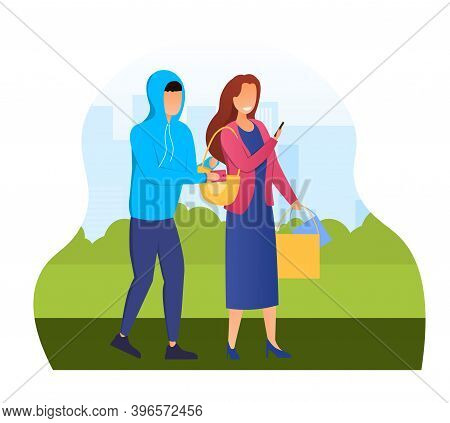 Pickpocket Steal Wallet From The Purse. Concept Of A Criminal Character Or A Bad Guy Stealing Money.