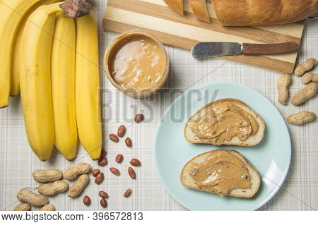 Peanut Butter And Banana Sandwiches. Im Making Lunch, A Peanut Butter Sandwich.
