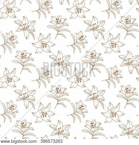 Vector Flowers Pattern, Lily Pattern, Floral Pattern Modern. Elegant Golden Lilies Drawn By A Thin L
