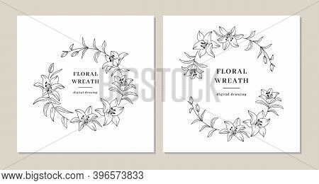 Floral Wreath Set, Lily Flowers Circle Monogram, Wedding Invitation Templates, Lily Flower Wreath. A