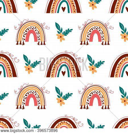 Boho Rainbow Pattern, Doodle Rainbow Background. Baby Rainbow Pattern On White Background. Vector Ab