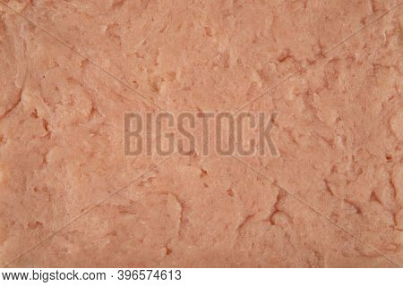 Raw Poultry Meat Texture - Top View And Closeup Of Freshly Ground Chicken Breast Meat