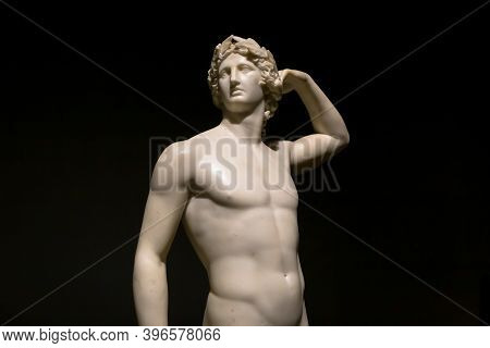 Milan, Italy - June 2020:  The Ancient Sculpture Apollo Crowning Himself - 1782 - Antonio Canova's M