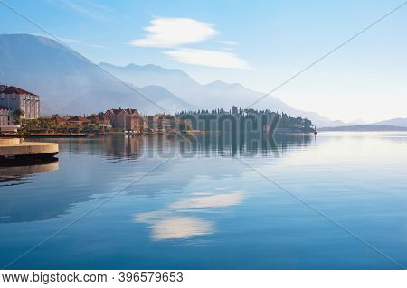 Beautiful Mediterranean Landscape. Montenegro. View Of Bay Of Kotor  And Embankment Of Tivat City  I