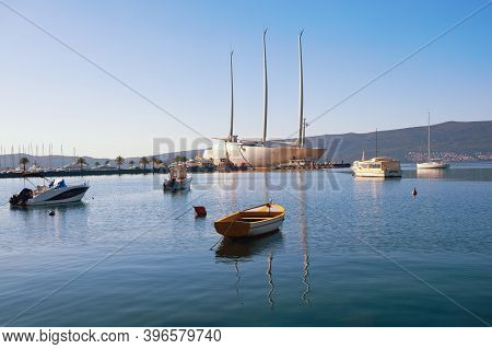 Tivat / Montenegro - November  10 2020:  View Of The Bay Of Kotor Near Tivat City, Fishing Boats And