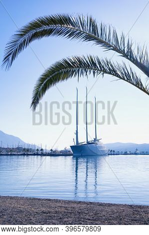 Tivat / Montenegro - November  10 2020:  View Of The Bay Of Kotor, Tivat City And Sailing Yacht A  I