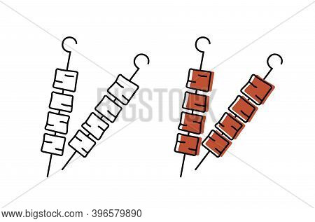 Pieces Of Kebab On A Skewer. Top Quality Farm Products. Vector Icons In Flat Style