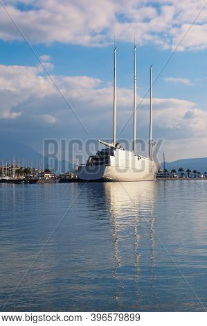 Tivat / Montenegro - November  11 2020:  Sailing Yacht A, The Largest Sailing Yacht, Arrived At Port