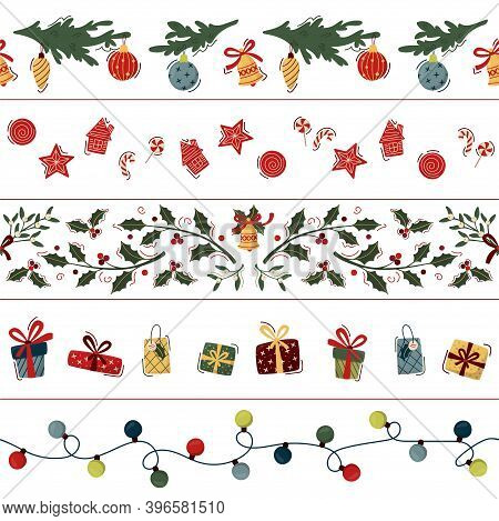 Set Of Christmas Seamless Border. Garland, Christmas Cookies And Lollipops, Floral Garland With Holl