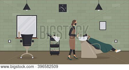 Interior Of Beauty Salon In Loft Style.barber In Protective Medical Mask During Epidemic Of Virus Wa