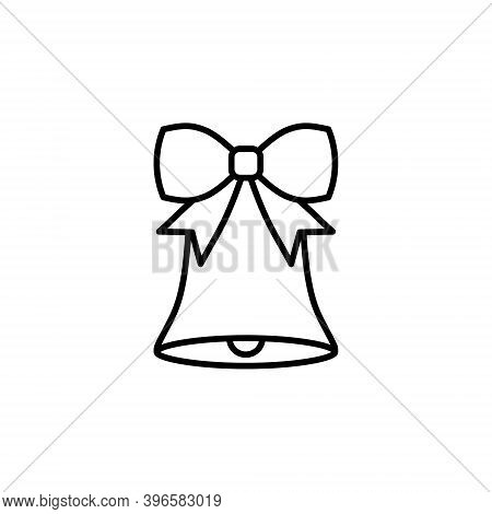 Christmas Handbell With A Ribbon Vector Icon In Line Art. Cute Bell With A Ribbon Isolated On White