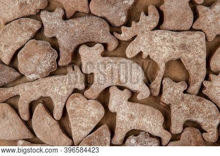 Gingerbread Texture - Top View And Closeup Of Animal-shaped Gingerbread