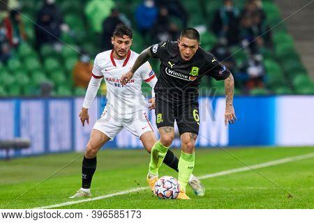 Krasnodar, Russia - November 24, 2020: Cristian Ramirez Of Fc Krasnodar Battle For The Ball With Osc