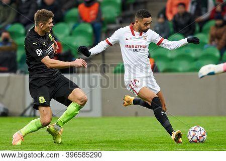 Krasnodar, Russia - November 24, 2020: Youssef En-nesyri Of Sevilla Fc In Action During The Uefa Cha
