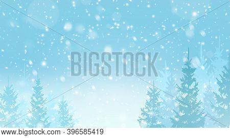 Christmas Winter Holiday Falling Snow Pattern, Greeting Card. Snowy Winter Forest. Christmas Trees I