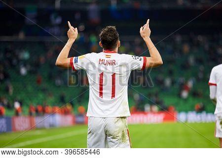 Krasnodar, Russia - November 24, 2020: Munir El Haddadi Of Sevilla Fc Celebrates His Goal During The