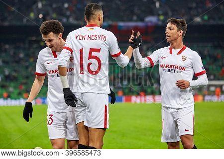 Krasnodar, Russia - November 24, 2020: Munir El Haddadi Of Sevilla Fc Celebrates After Scoring His T