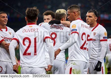 Krasnodar, Russia - November 24, 2020: Joan Jordan Of Sevilla Fc Celebrates After Scoring His Team's