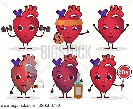 Heart Character Set, Healthcare Concept, Cardiac Disease. Vector