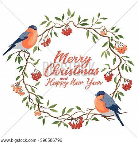 Hand Drawn Merry Christmas Typography In Rowanberry Winter Wreath With Bullfinches Banner. Celebrati