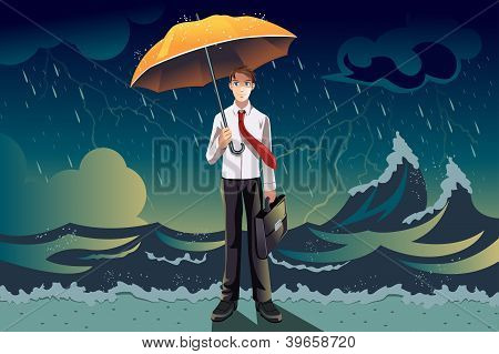 Businessman In A Storm