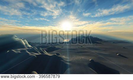 Ice Berg Sunset In Ocean 3d Rendering Illustration