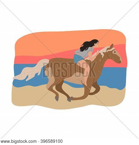 Young Girl Sitting On Brown Horse Back And Riding Galloping In Forest