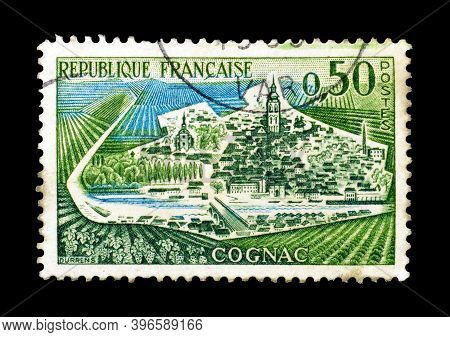 France - Circa 1961 : Cancelled Postage Stamp Printed By France, That Shows Cognac, Circa 1961.