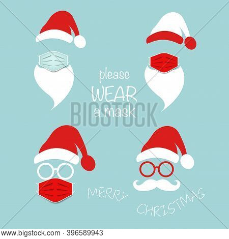 Santa Claus Head Label Wear Surgical Mask Set Icons, Hat, Beard, Mustache And Round Glasses. Merry C
