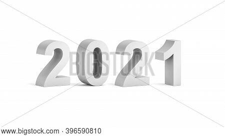 Bold 2021 Year Number Text Label Isolated On White Background With Soft Shadow, 3d Rendering Illustr