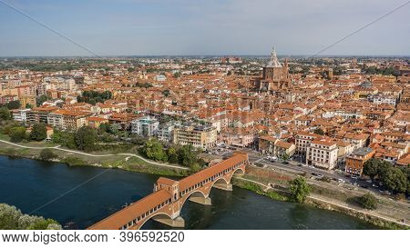 Aerial View Of Pavia. It Is An Old City South Of Milan In Lombardia Region