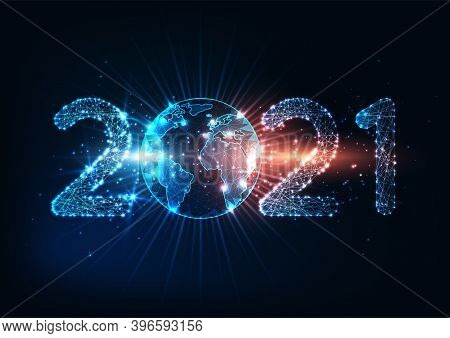 Futuristic New Year Digital Web Banner With Glowing Low Polygonal 2021 Number And Planet Earth Globe