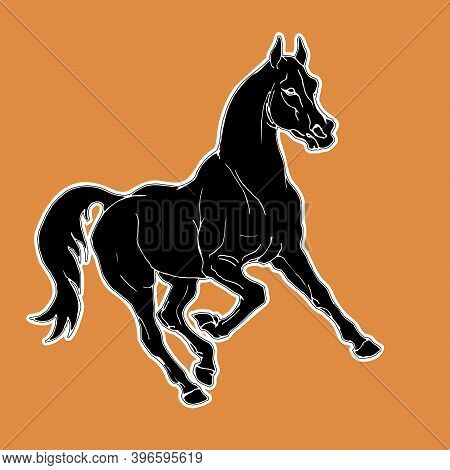 Painted Prancing Horse, Black Silhouette On An Orange Background In Antique Style For Decoration And