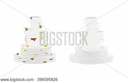 Stacks Of Dirty And Clean Dishes Isolated On White Background. Plates, Bowls And Cups Before And Aft