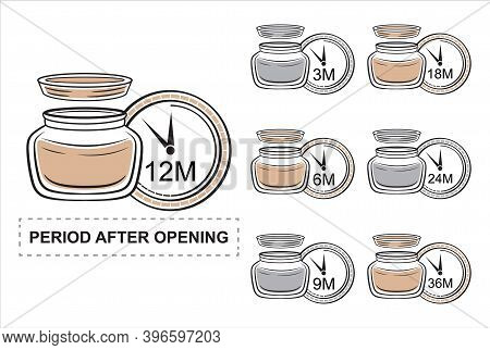 Pao, Period After Opening Colored Icon Set. Product Shelf Life. Cosmetic Jar Of Cream With Open Lid