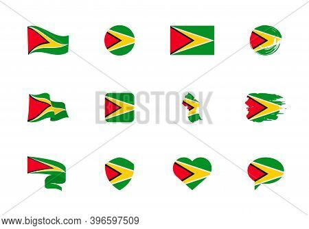 Guyana Flag - Flat Collection. Flags Of Different Shaped Twelve Flat Icons.