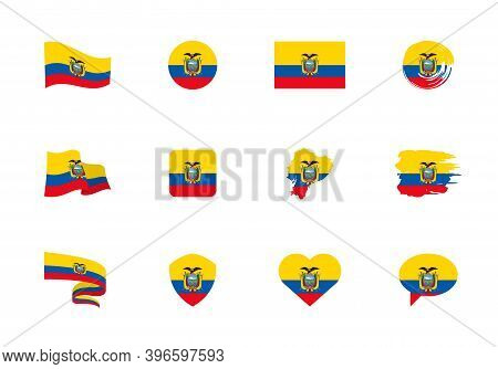 Ecuador Flag - Flat Collection. Flags Of Different Shaped Twelve Flat Icons.