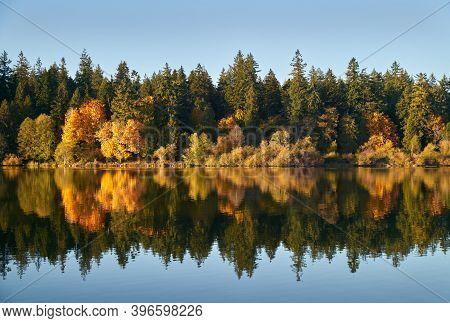 Stanley Park Lost Lagoon Autumn. Stanley Park\\\'s Lost Lagoon in autumn. Vancouver, British Columbia, Canada.