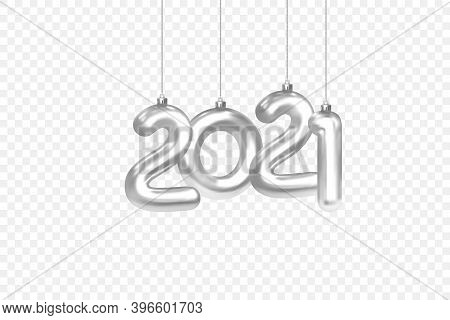 2021 New Year Design Element Template. Christmas Decorations Hanging On A Silver Chain Silver Number