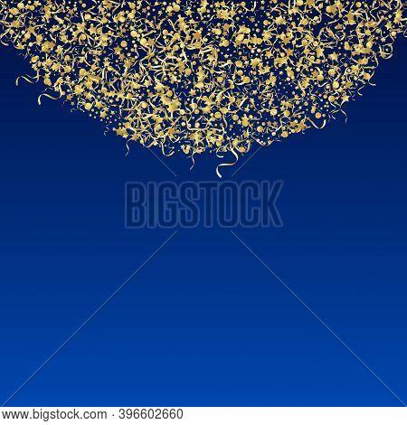Yellow Ribbon Happy Vector Blue Background. Celebration Star Branch. Serpentine Shiny Poster. Golden